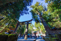 栃木県 日光東照宮の石鳥居と観光客