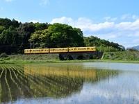 三重県 水田と三岐鉄道
