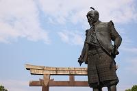 大阪府 豊國神社 鳥居と豊臣秀吉公像