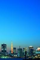 東京湾岸のビル群 夕景