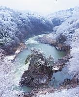 福島県・福島市 阿武隈川と蓬莱岩