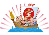 戌年の七福神と宝船
