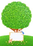 大樹と看板と家族