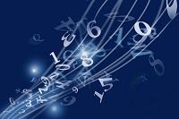浮かぶ数字とアルファベット CG