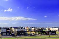 北海道 郊外の新興住宅地の家並み