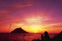 夕焼けの八丈小島 八丈島