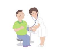 血圧を測る男性と看護師