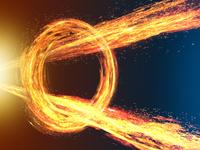 旋回する炎の輪を突き抜ける放射炎