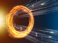 旋回する炎の輪を突き抜ける光線とネットワーク線