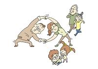 イラスト 柔軟体操とジョギングをする日本人の三世代家族