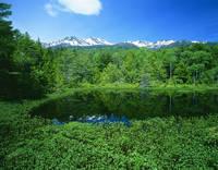長野県 乗鞍高原・牛留池と乗鞍岳遠望