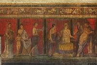 イタリア ポンペイの遺跡/秘儀荘/「ディオニュソスの秘儀」のフ...