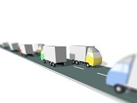 道を走るおもちゃのトラック
