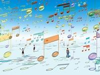 無数のガラス質の音符オブジェが浮遊する