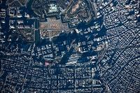 東京駅,丸の内,大手町周辺(俯瞰撮影)高度3,000m