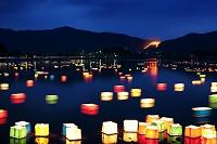 京都府 広沢池 送り火と灯篭流し