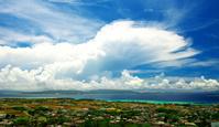 沖縄県 伊江島から本部半島を望む