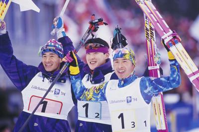 リレハンメル五輪ノルディック複合団体、日本が連覇(1994年2月)