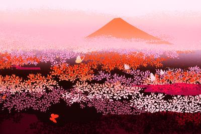 富士山の風景画・イラスト