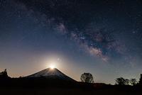 山梨県 パール富士と天の川