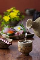 日本酒とお刺身4点盛り