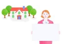 ボードを持つビジネス女性と一軒家