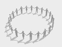 手をとり輪を作るシルエット