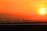 江川海岸の夕日とシルエット