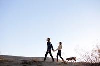 手を繋いで犬を散歩させるカップル