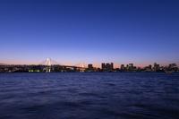 夕景の豊洲ぐるり公園よりレインボーブリッジ
