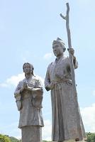 静岡県 伊豆の国市 蛭ヶ小島 源頼朝 政子夫妻の像
