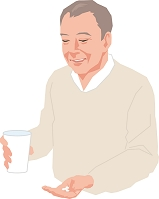 薬を飲むアクティブシニアの日本人男性