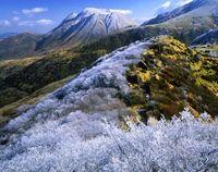霧氷の沓掛山と三俣山