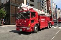 銀座の防災訓練・東京消防庁の屈折放水塔車