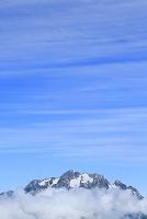 長野県 北アルプス爺ヶ岳中腹から見る剣岳と青空