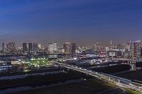 東京都 江東区 豊洲市場建設現場と豊洲、晴海周辺のビル群 夕景