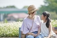 ベンチに座る日本人の親子