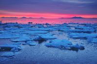 北海道 知床 国後島の朝と流氷