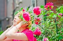 薔薇と日本人女性