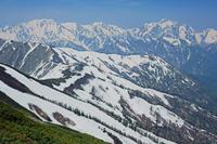 長野県 爺ケ岳中峰から立山左奥と剣岳右奥の山