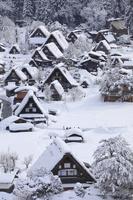 岐阜県 天守閣展望台から見る雪の白川郷