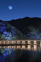 京都府 渡月橋と嵐山のライトアップ