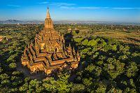 ミャンマー 熱気球から俯瞰スラマニ寺院