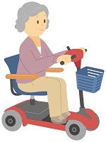 シニアカーに乗る老人女性