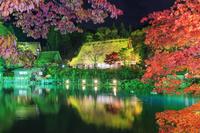 岐阜県 紅葉の飛騨民俗村 飛騨の里ライトアップ