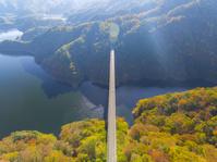 広島県 龍姫湖 紅葉と道