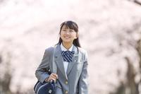 桜並木と笑顔の女子中学生