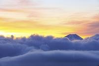 山梨県 櫛形林道 夜明けの富士山と湧き上がる雲