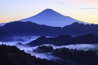 静岡県 静岡市 清水吉原 朝焼けの富士山と雲海
