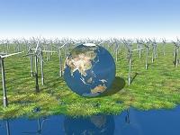 緑地の風力発電と地球儀